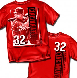 "Cincinnati - Jay Bruce ""Vertical Stripe"" Adult Tee"