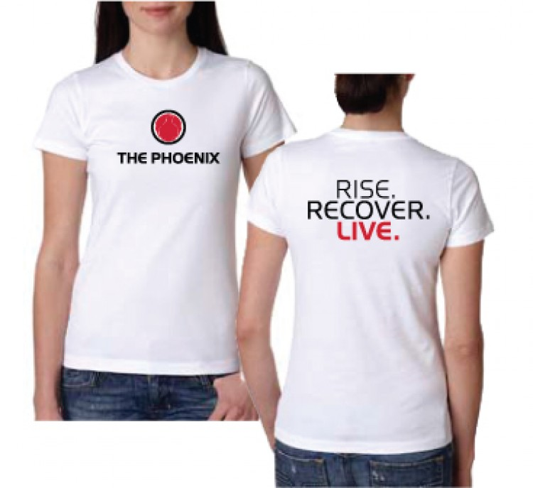 THE PHOENIX RISE RECOVER LIVE WOMENS WHITE TEE