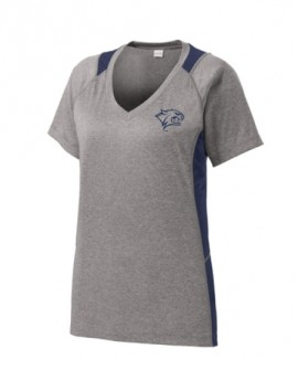UNH REFLECTIVE WOMEN'S COLORBLOCK CONTENDER V-NECK TEE