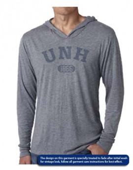 UNH VINTAGE 1866 DISTRESSED UNISEX TRIBLEND LONG-SLEEVE HOODY