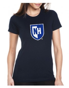 UNH WOMEN'S DISTRESSED SHIELD TEE