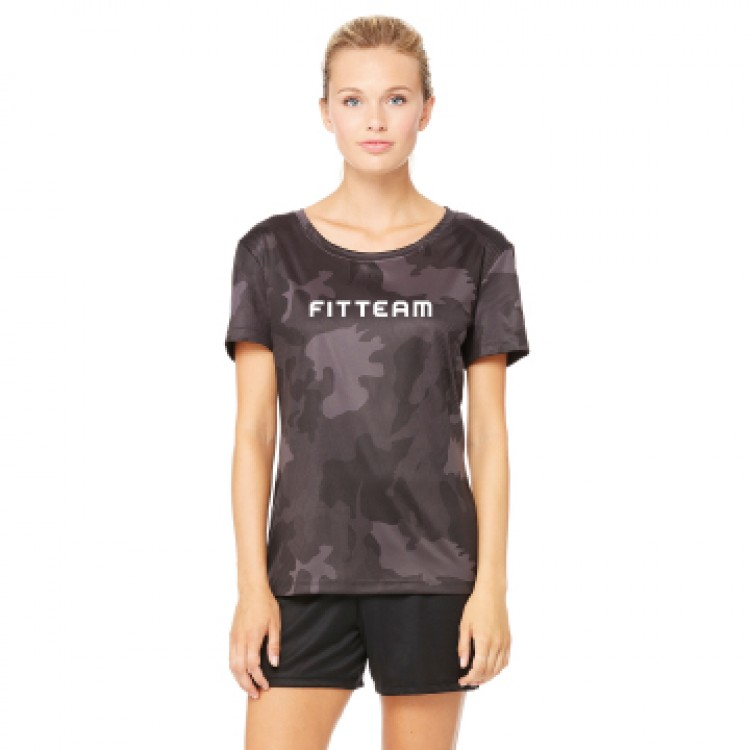 FITTEAM LADIES PERFORMANCE SHORT SLEEVE CAMO T-SHIRT