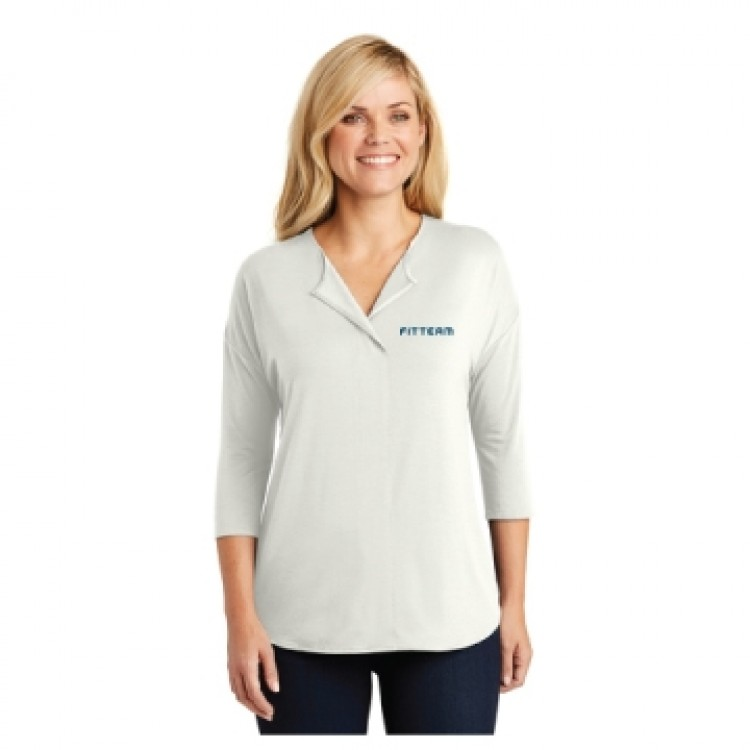 FITTEAM LADIES CONCEPT 3/4 SLEEVE SOFT SPLIT NECK TOP