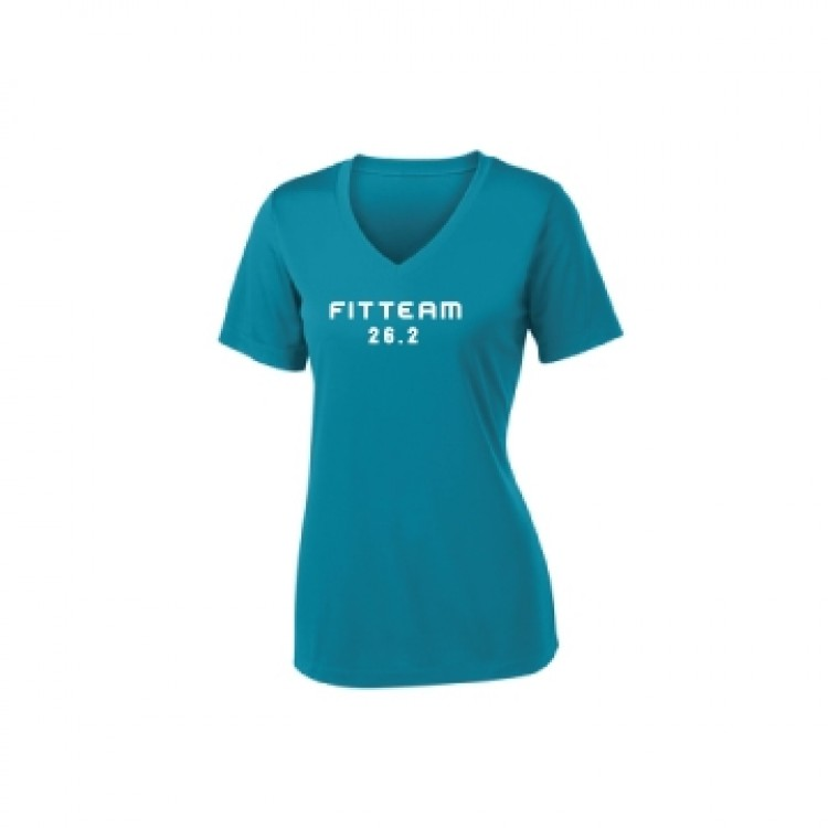 FITTEAM 26.2 MARATHON V-NECK DRI-FIT T-SHIRT.  (LST353)