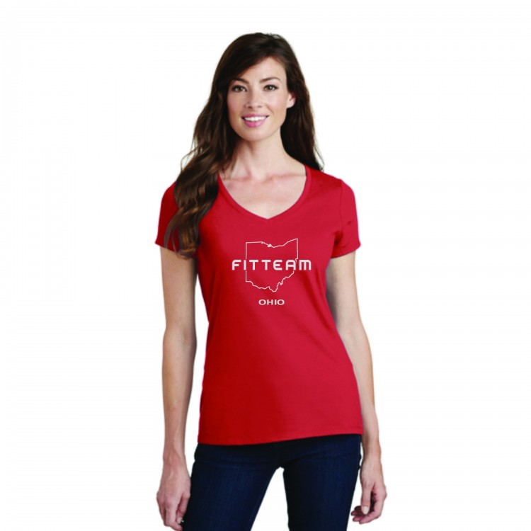 FITTEAM OHIO V-NECK T-SHIRT.  (PC450V)