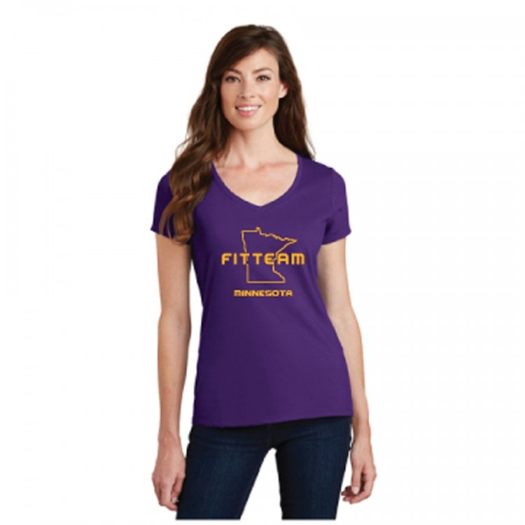 FITTEAM MINNESOTA WOMEN'S V-NECK T-SHIRT (VIKINGS)   (LPC450V)