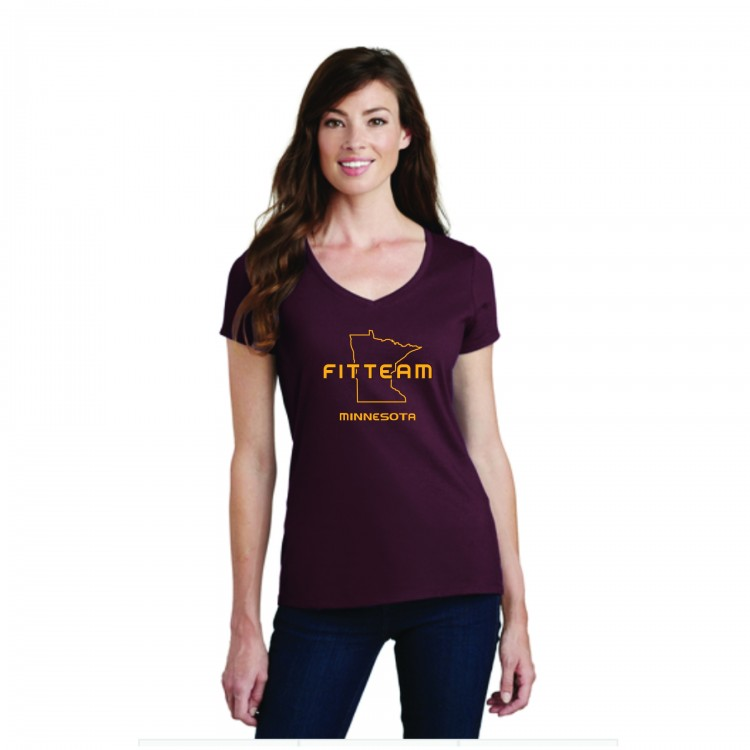 FITTEAM MINNESOTA V-NECK T-SHIRT.  (PC450V)
