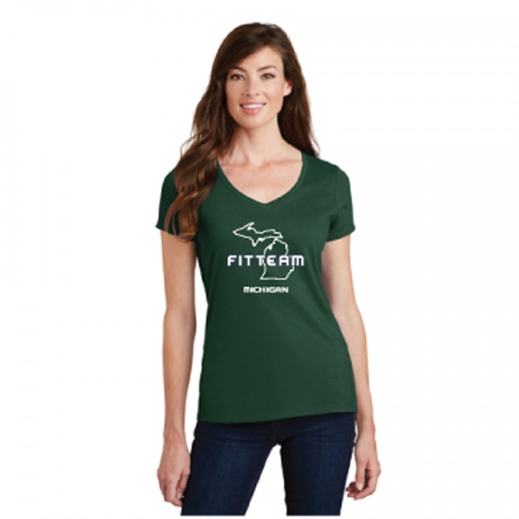 FITTEAM MICHIGAN WOMEN'S V-NECK (MSU STYLE) (LPC450V)