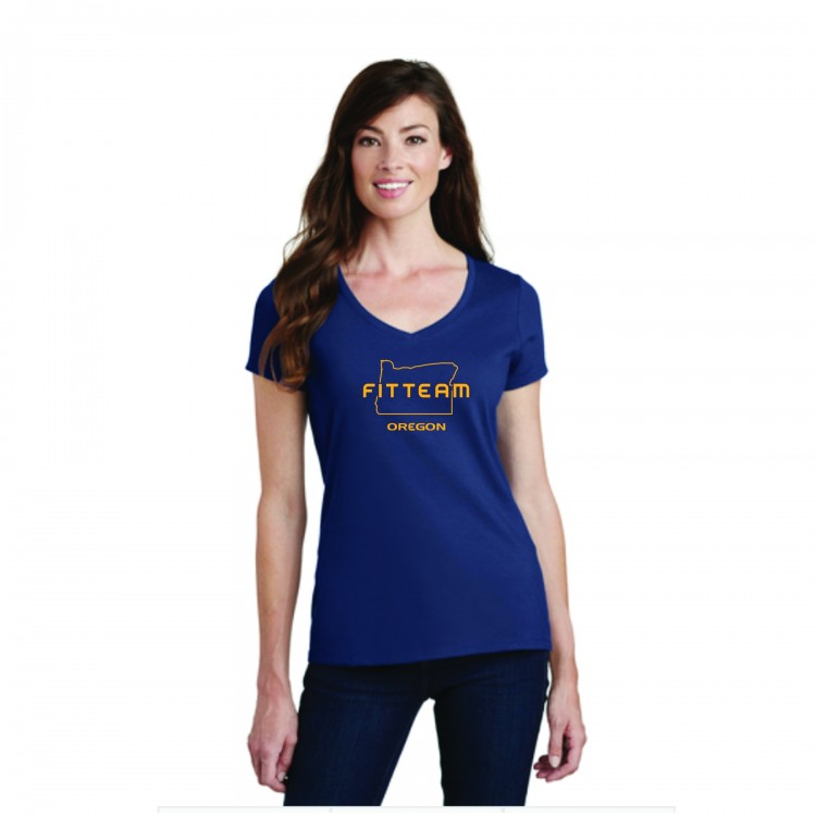 FITTEAM OREGON WOMEN'S V-NECK T-SHIRT