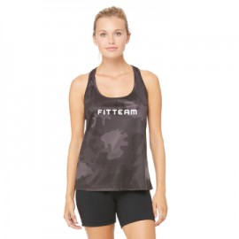 FITTEAM LADIES PERFORMANCE RACER BACK CAMO TANK