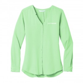 FITTEAM Ladies Long Sleeve Button-Front Blouse