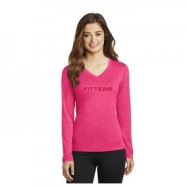 FITTEAM'S WOMEN LONG SLEEVE HEATHERED DRI FIT V-NECK SHIRT