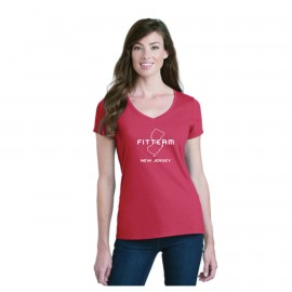 FITTEAM NEW JERSEY, WOMEN'S V-NECK T-SHIRT