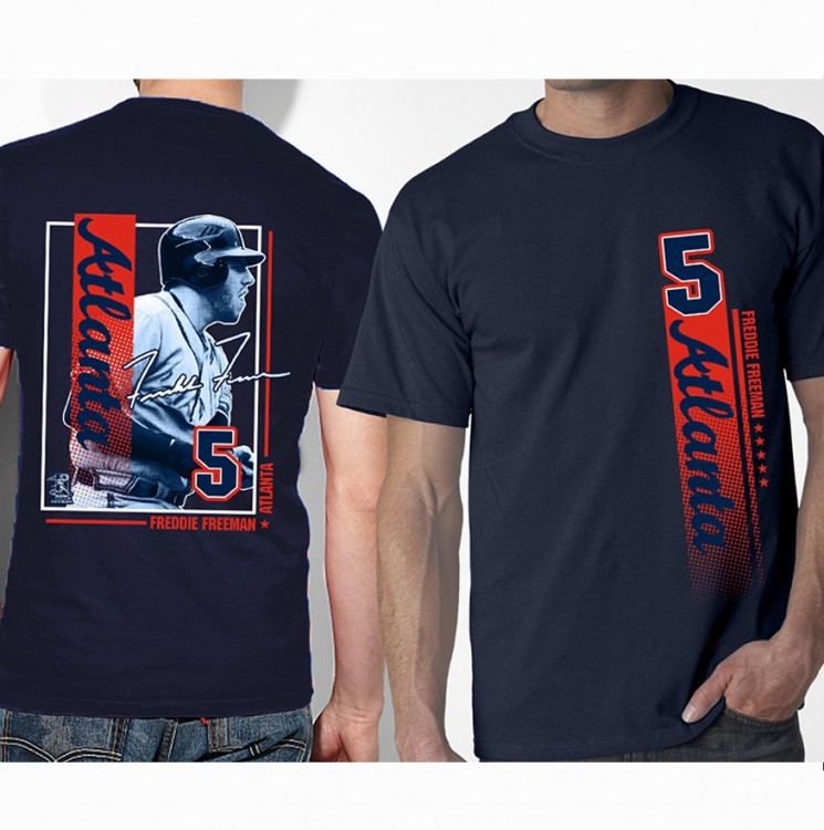 Atlanta Freddie Freeman- Vertical Stripe Style Adult Tee