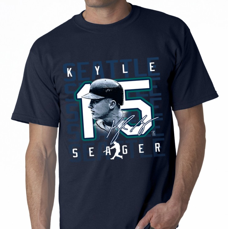 "SEATTLE- SEAGER ""SILHOUETTE NUMBER"" STYLE T-SHIRT"