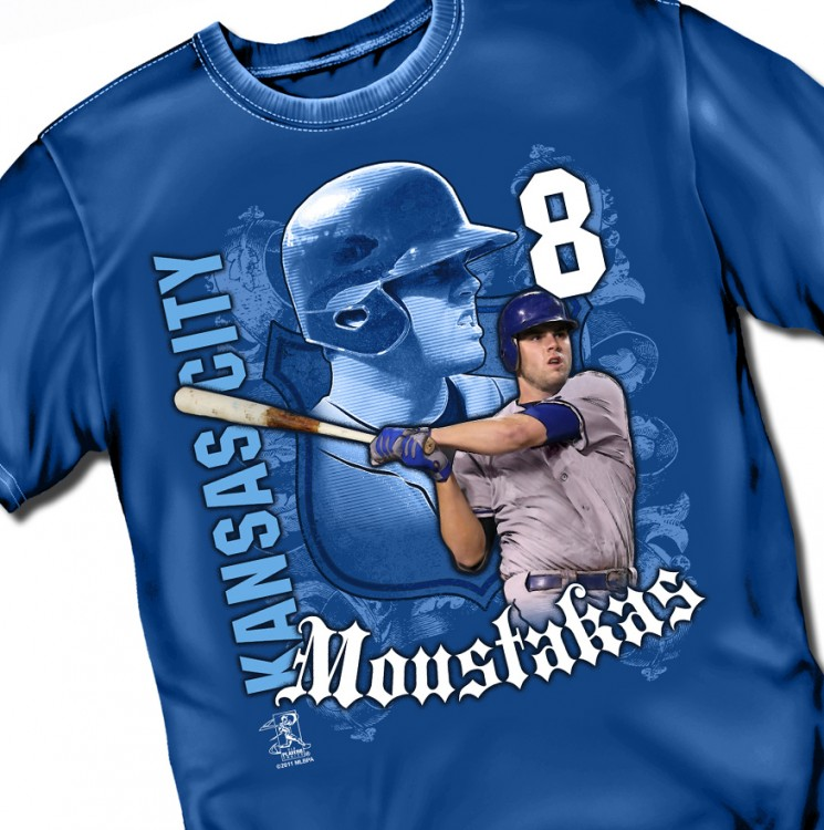"Kansas City  Moustakas ""Sheild"" Adult Tee"